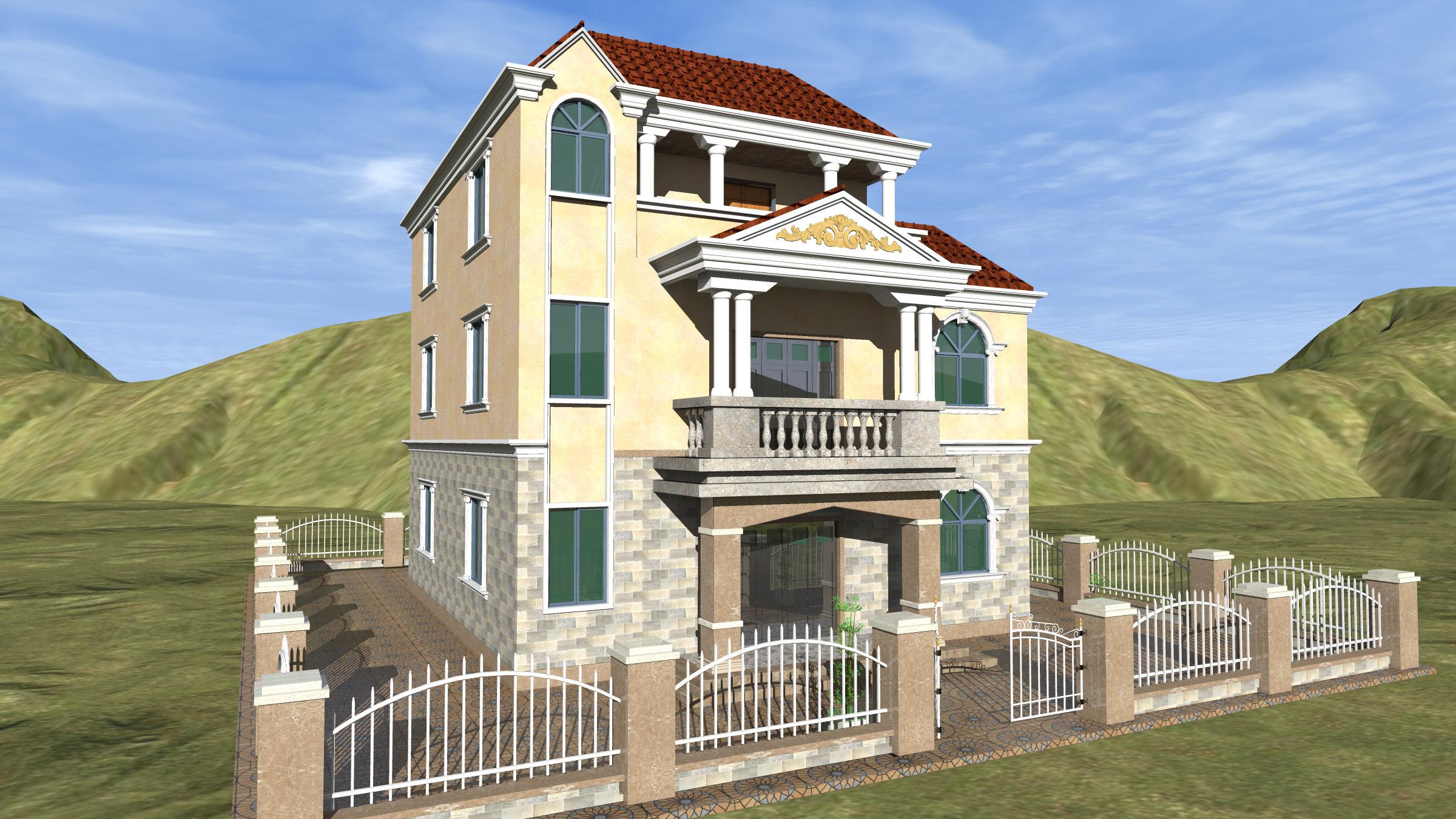 一楼大门 二楼阳台 三楼露台